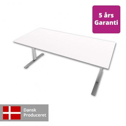 Billede af hæve-sænkebord hvidt med alu stel