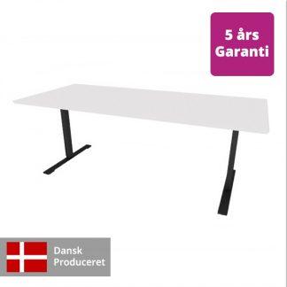 Billede af hæve-sænkebord hvidt med sort stel