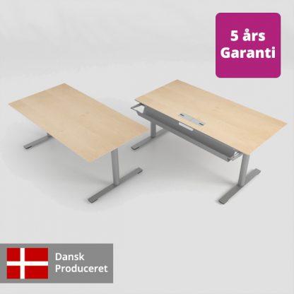 Billede af hæve sænkebord med og uden tilbehør