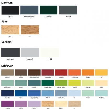 Billede af løse bordplader farvekort